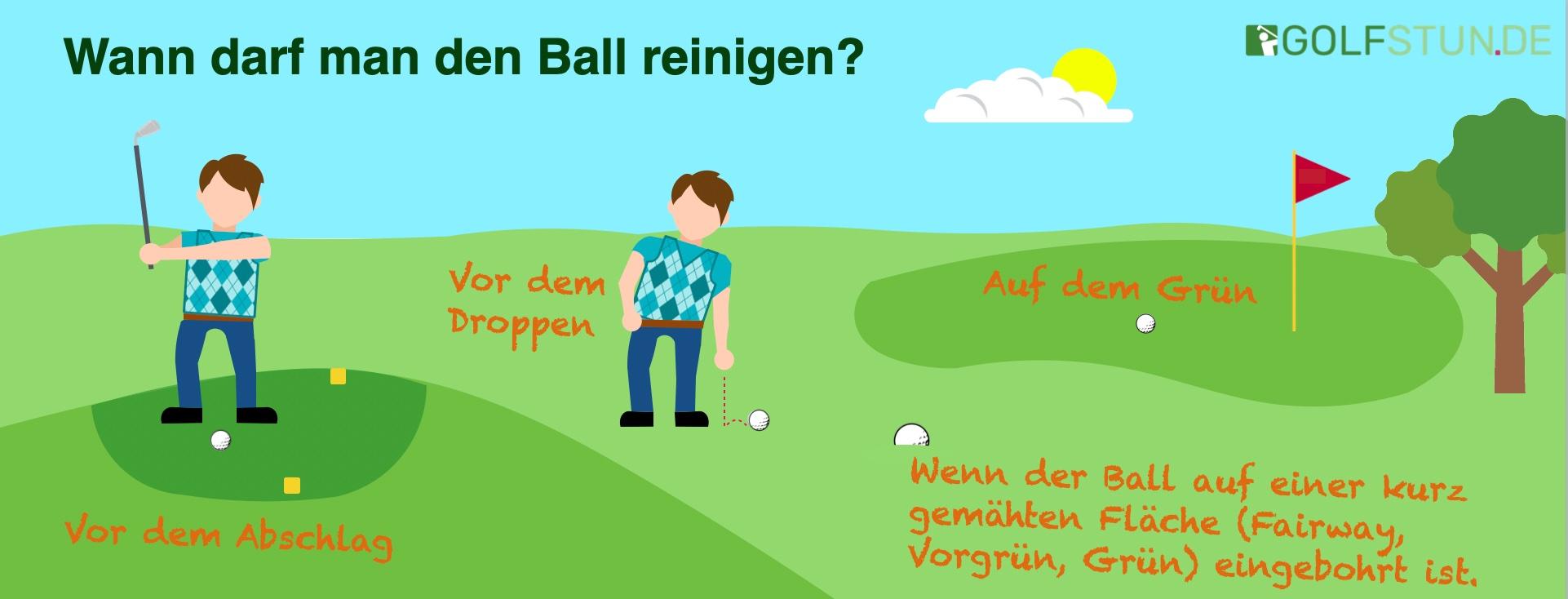 Wann darf man einen Golfball reinigen.