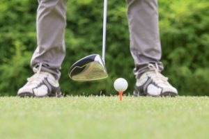golfer ready to tee off