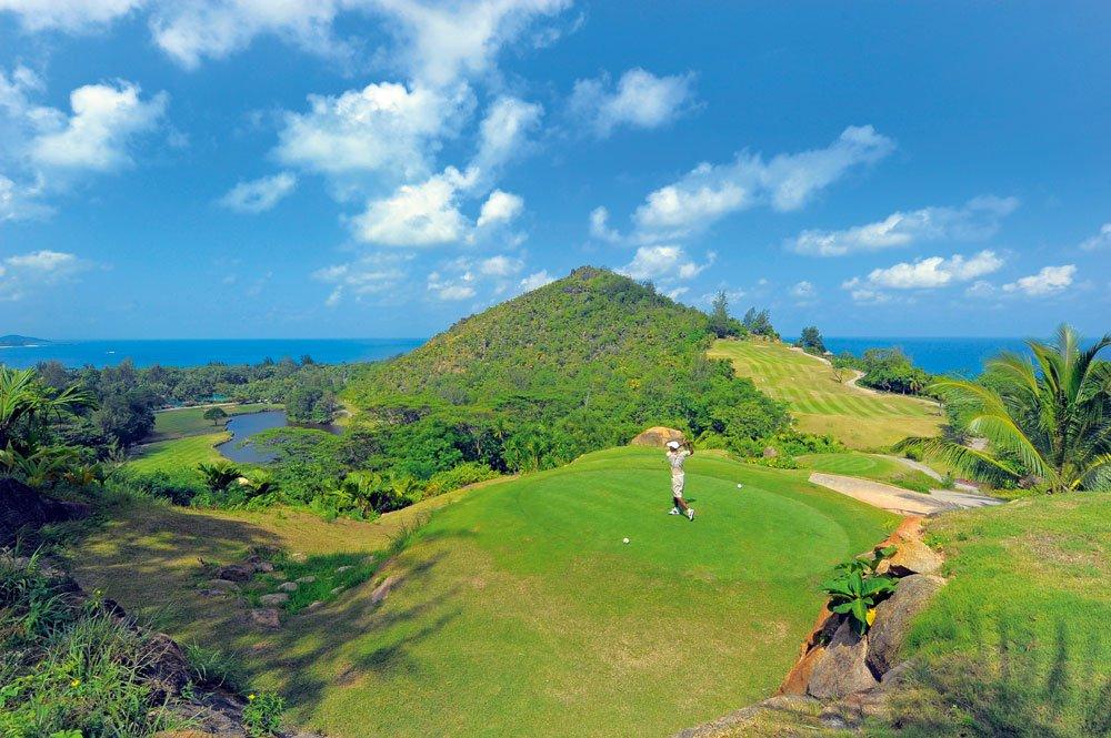 Signature Hole des Lémuria Golf Resort auf den Seychellen