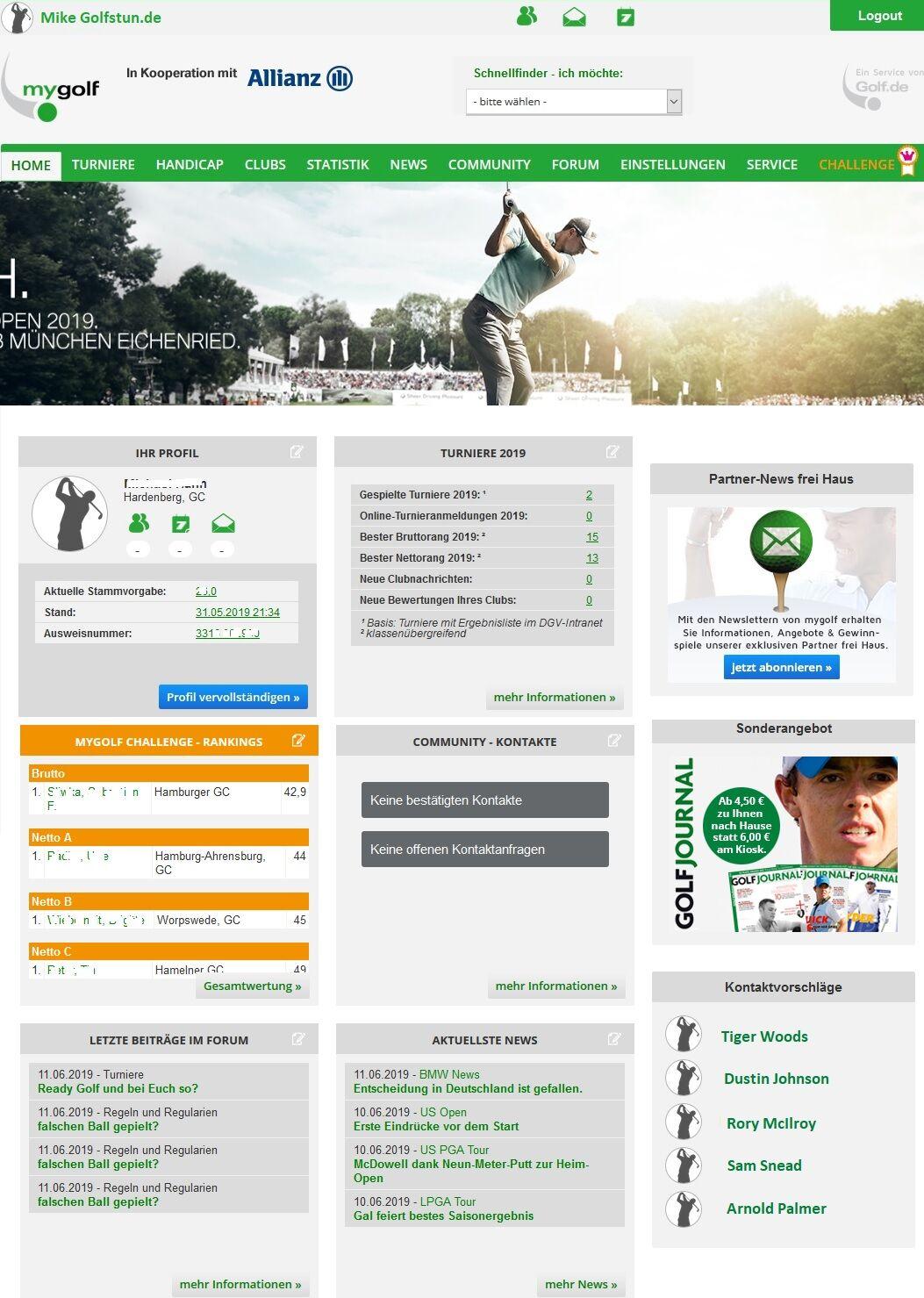 mygolf dashboard - MyGolf.de – Das bietet das Service-Portal des DGV