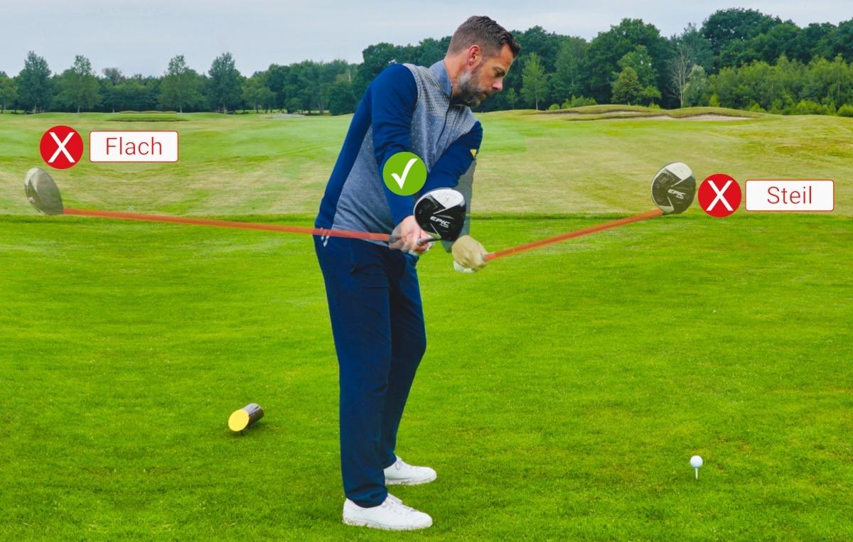 take away schlaeger steil flach - Golfschwung aufnehmen, Technik verbessern (App-Tipp)