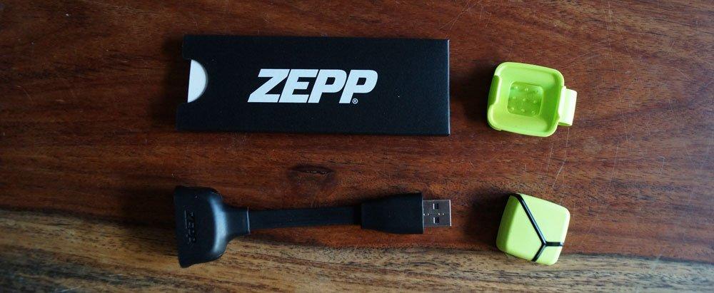 ZEPP-Sensor, Ladekabel, Clip und Anleitung